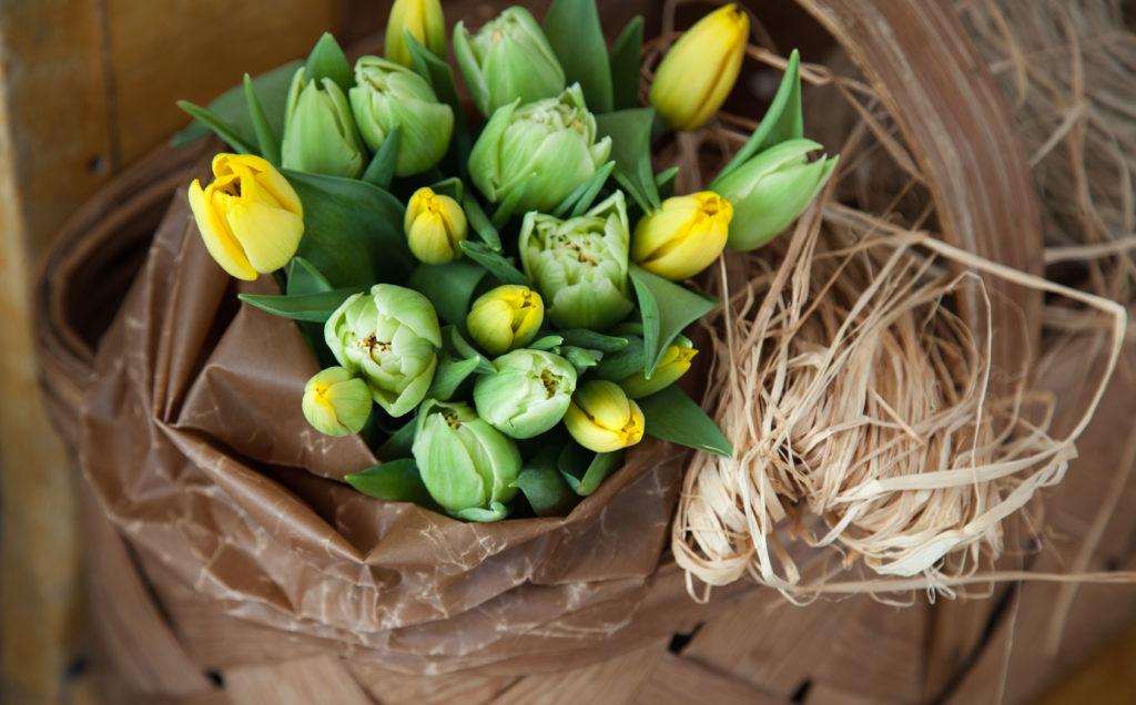 Tulpaner i korg